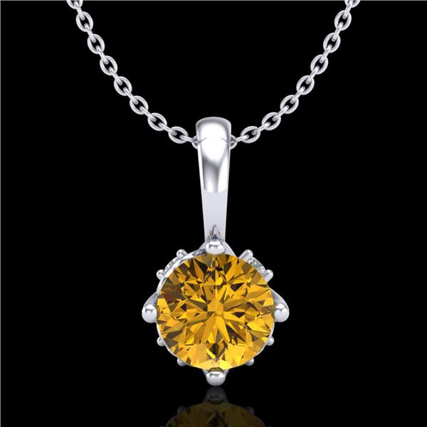 0.62 ctw Intense Fancy Yellow Diamond Art Deco Necklace 18k White Gold - REF-107H3R
