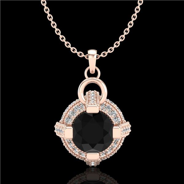 1.57 ctw Fancy Black Diamond Micro Pave Stud Necklace 18k Rose Gold - REF-118R2K