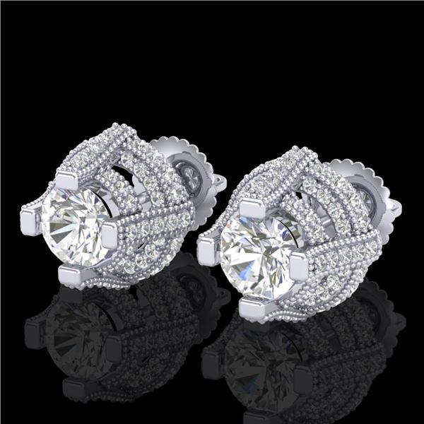 2.75 ctw VS/SI Diamond Micro Pave Stud Earrings 18k White Gold - REF-320Y2X