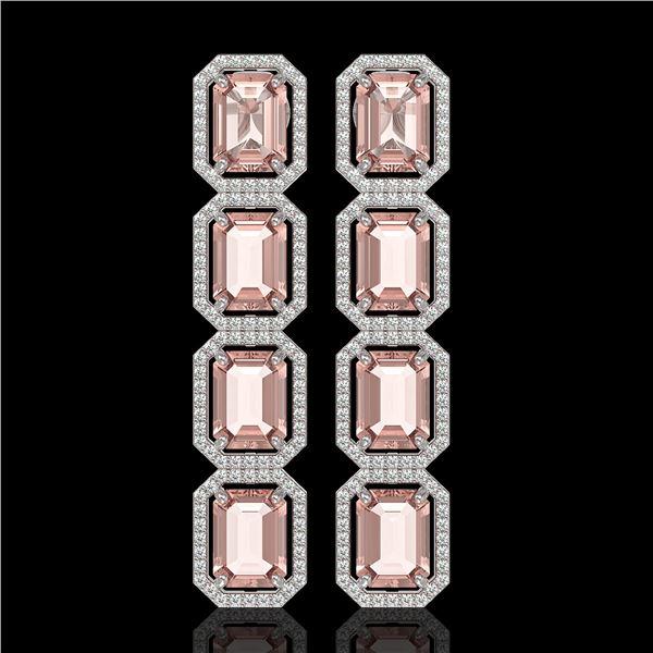 19.81 ctw Morganite & Diamond Micro Pave Halo Earrings 10k White Gold - REF-424W8H