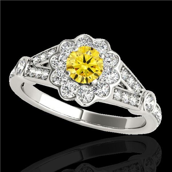 1.65 ctw Certified SI/I Fancy Intense Yellow Diamond Ring 10k White Gold - REF-204Y5X