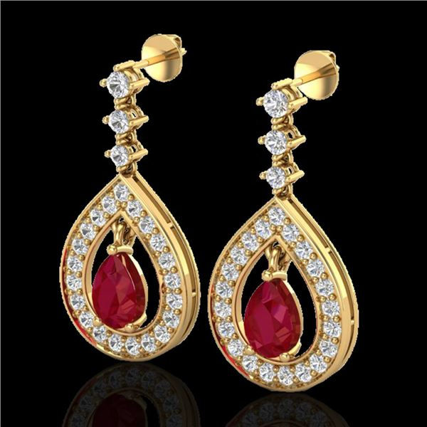 2.25 ctw Ruby & Micro Pave VS/SI Diamond Earrings 14k Yellow Gold - REF-105G5W
