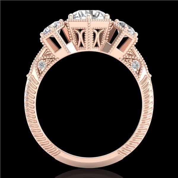 1.66 ctw VS/SI Diamond Solitaire Art Deco 3 Stone Ring 18k Rose Gold - REF-445W5H