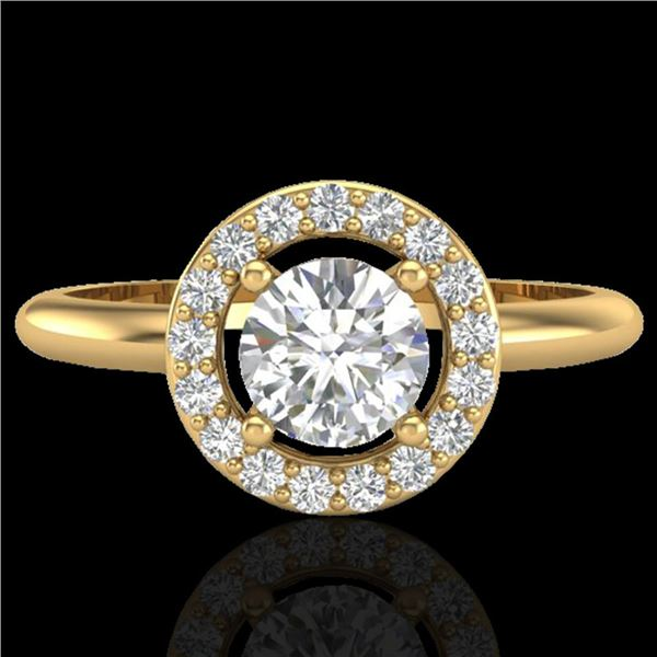 0.75 ctw Micro Pave Halo VS/SI Diamond Certified Ring 18k Yellow Gold - REF-110K8Y