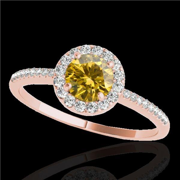 1.2 ctw Certified SI/I Fancy Intense Yellow Diamond Ring 10k Rose Gold - REF-177F3M
