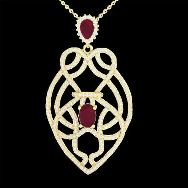 3.50 ctw Ruby & Micro VS/SI Diamond Heart Necklace 14k Yellow Gold - REF-179K6Y