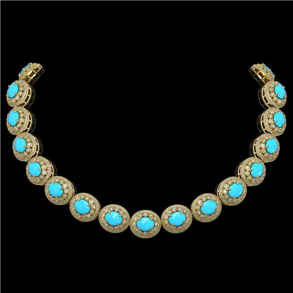 86.75 ctw Turquoise & Diamond Victorian Necklace 14K Yellow Gold - REF-2583H6R