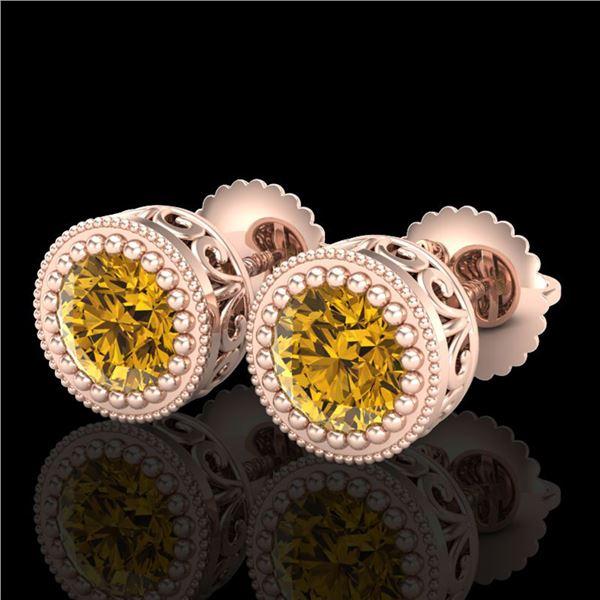1.09 ctw Intense Fancy Yellow Diamond Art Deco Earrings 18k Rose Gold - REF-163W6H