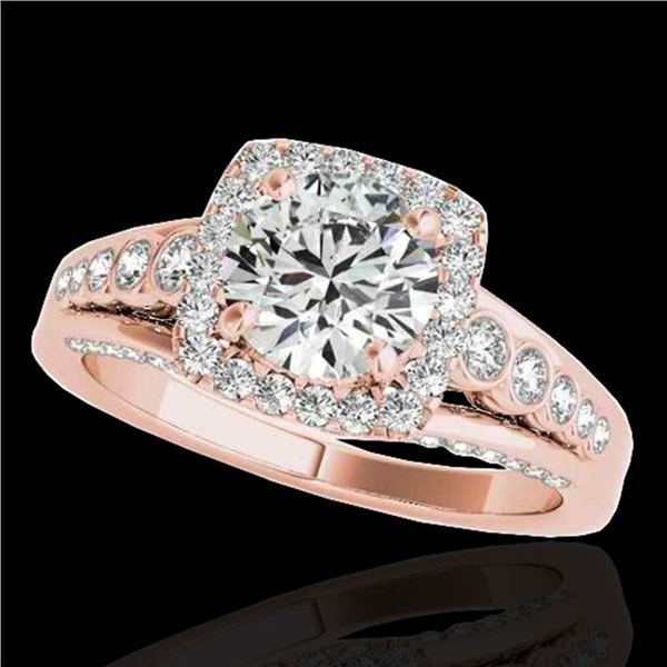 1.75 ctw Certified Diamond Solitaire Halo Ring 10k Rose Gold - REF-204W5H