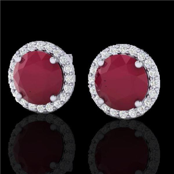 4 ctw Ruby & Halo VS/SI Diamond Certified Micro Earrings 18k White Gold - REF-80M2G