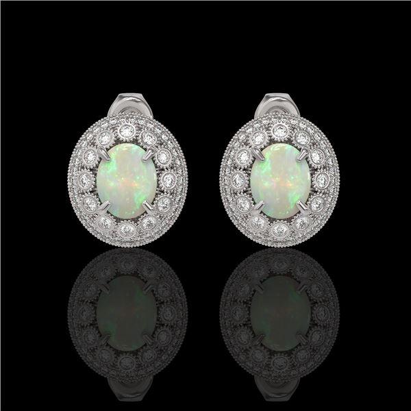 7.4 ctw Certified Opal & Diamond Victorian Earrings 14K White Gold - REF-227M8G