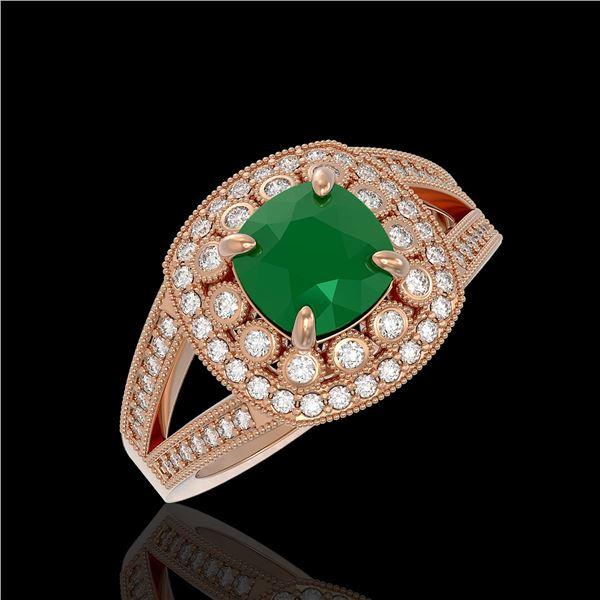2.69 ctw Certified Emerald & Diamond Victorian Ring 14K Rose Gold - REF-104N9F
