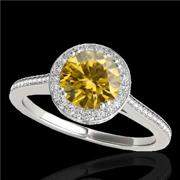 1.55 ctw Certified SI/I Fancy Intense Yellow Diamond Ring 10k White Gold - REF-204F5M