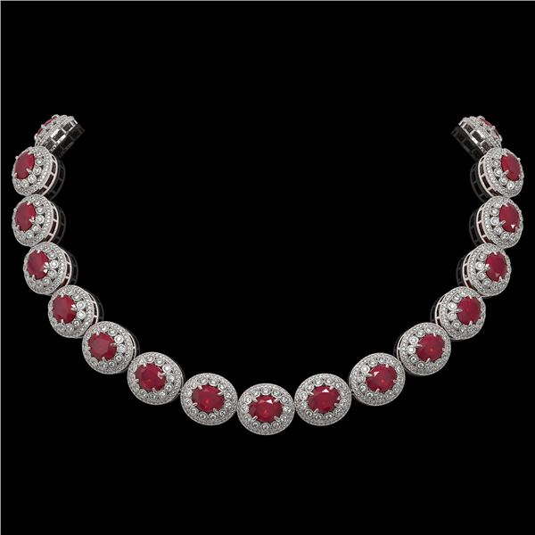 111.75 ctw Certified Ruby & Diamond Victorian Necklace 14K White Gold - REF-3015F5M