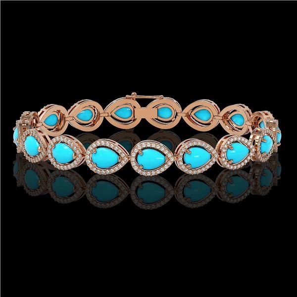 13.19 ctw Turquoise & Diamond Micro Pave Halo Bracelet 10k Rose Gold - REF-305H8R