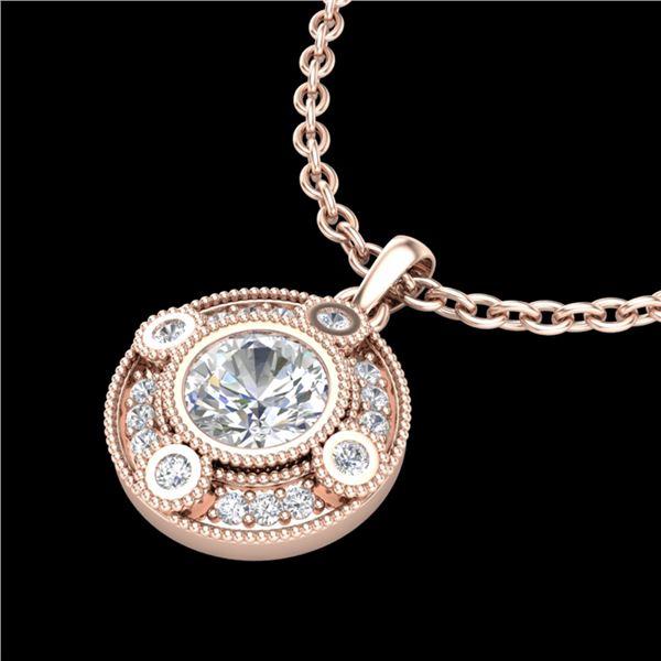 1.01 ctw VS/SI Diamond Solitaire Art Deco Stud Necklace 18k Rose Gold - REF-221F8M