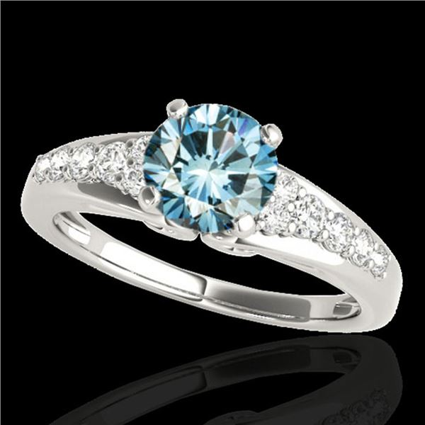 1.40 ctw SI Certified Fancy Blue Diamond Solitaire Ring 10k White Gold - REF-120R2K