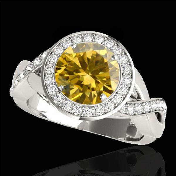 2 ctw Certified SI/I Fancy Intense Yellow Diamond Halo Ring 10k White Gold - REF-245R5K