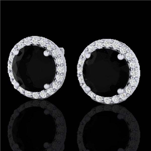 4 ctw Black Diamond Certified Micro Pave Earrings 18k White Gold - REF-122F5M