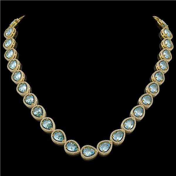 41.6 ctw Sky Topaz & Diamond Micro Pave Halo Necklace 10k Yellow Gold - REF-672K8Y