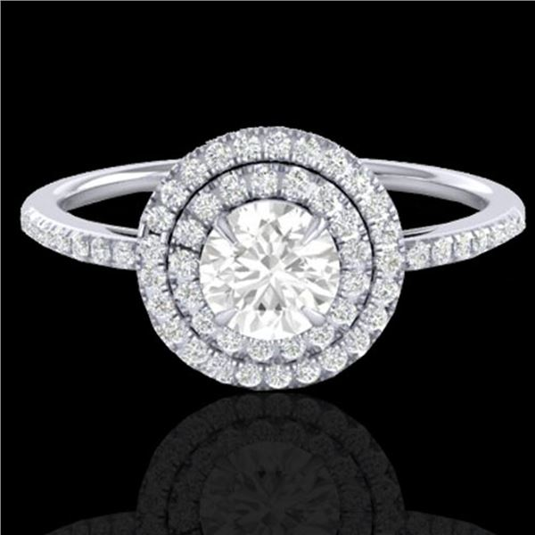 1 ctw Micro Pave VS/SI Diamond Solitaire Ring Halo 18k White Gold - REF-153K6Y