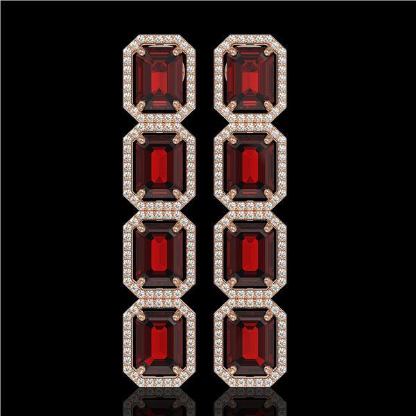 17.8 ctw Garnet & Diamond Micro Pave Halo Earrings 10k Rose Gold - REF-174Y2X
