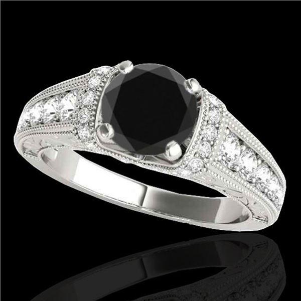 1.75 ctw Certified VS Black Diamond Solitaire Antique Ring 10k White Gold - REF-66Y8X