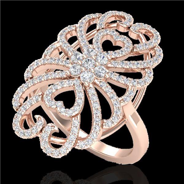 2.25 ctw Micro Pave VS/SI Diamond Designer Ring 14k Rose Gold - REF-176M8G