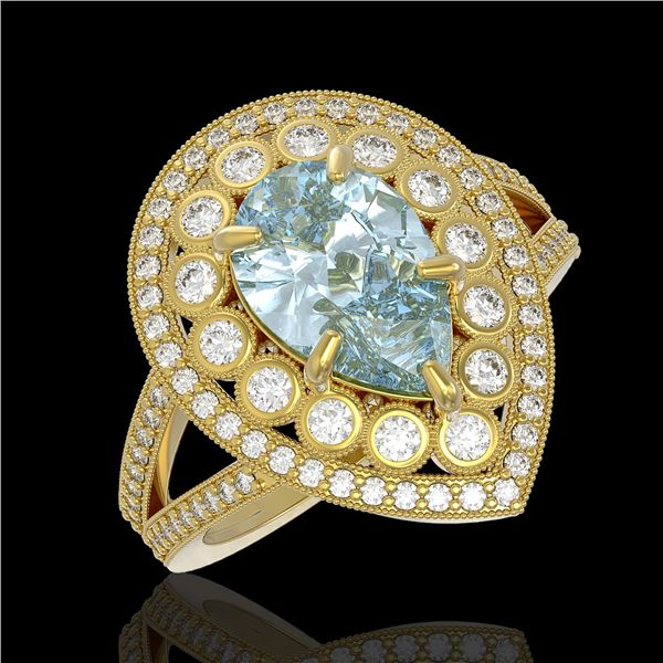 3.82 ctw Certified Aquamarine & Diamond Victorian Ring 14K Yellow Gold - REF-168N8F