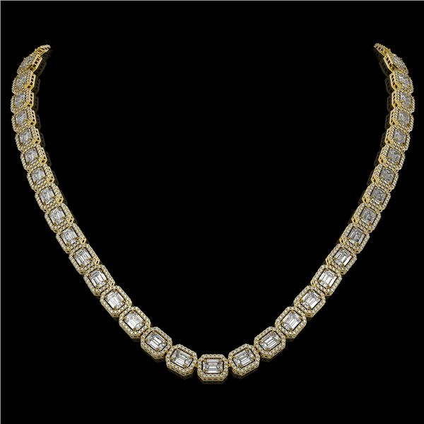 33.10 ctw Emerald Cut Diamond Micro Pave Necklace 18K Yellow Gold - REF-5182W5H