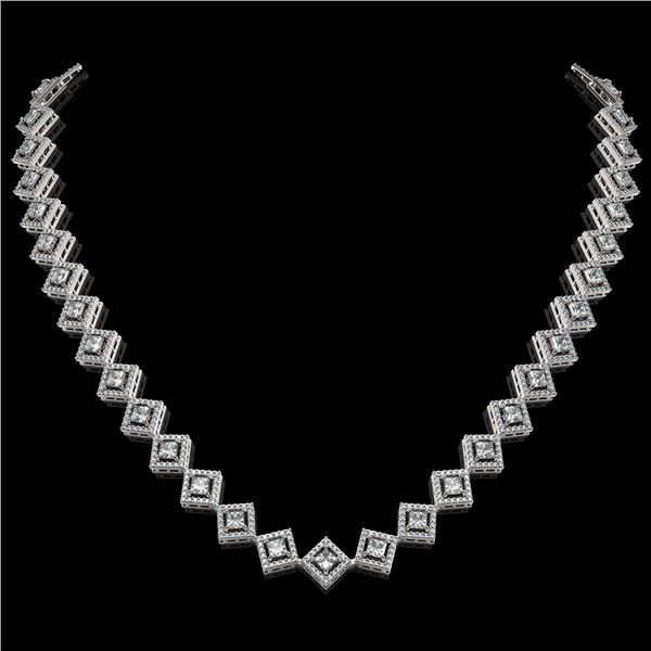 16.4 ctw Princess Cut Diamond Micro Pave Necklace 18K White Gold - REF-1402F6M
