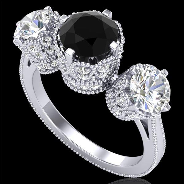 3.06 ctw Fancy Black Diamond Art Deco 3 Stone Ring 18k White Gold - REF-294G9W