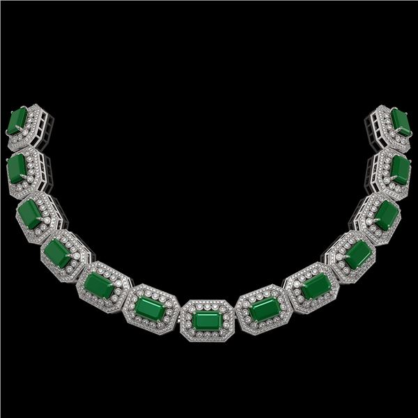 137.65 ctw Emerald & Diamond Victorian Necklace 14K White Gold - REF-3181G8W