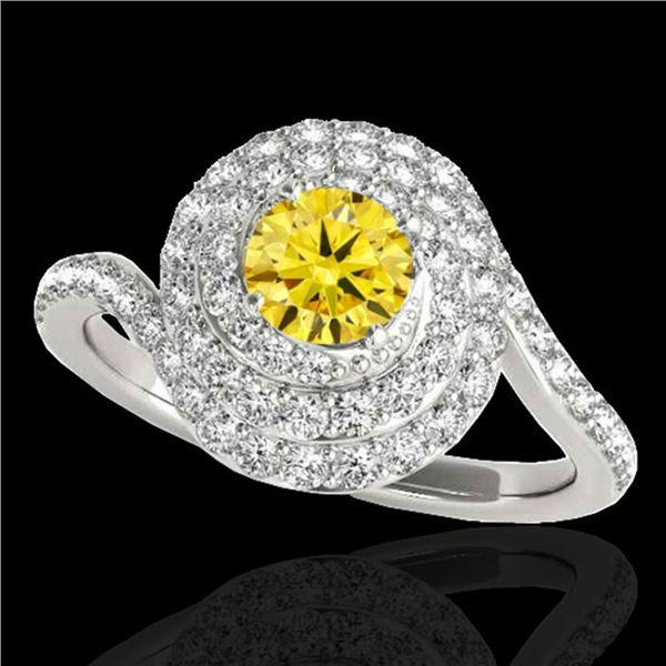 2.11 ctw Certified SI/I Fancy Intense Yellow Diamond Ring 10k White Gold - REF-259K3Y