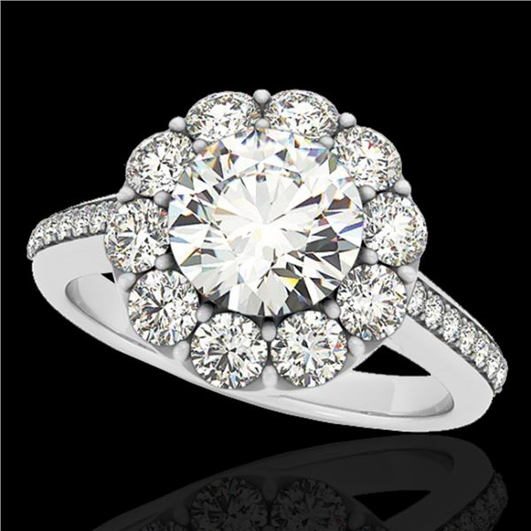 2.75 ctw Certified Diamond Solitaire Halo Ring 10k White Gold - REF-395M5G