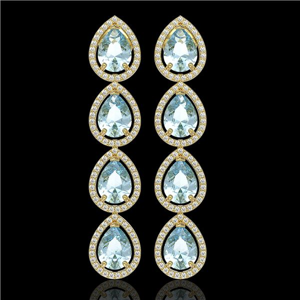 10.56 ctw Aquamarine & Diamond Micro Pave Halo Earrings 10k Yellow Gold - REF-228R8K