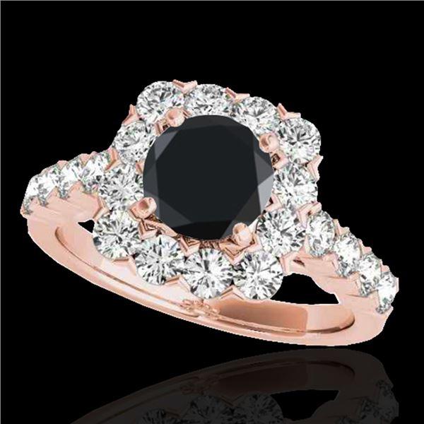 2.5 ctw Certified VS Black Diamond Solitaire Halo Ring 10k Rose Gold - REF-91R4K