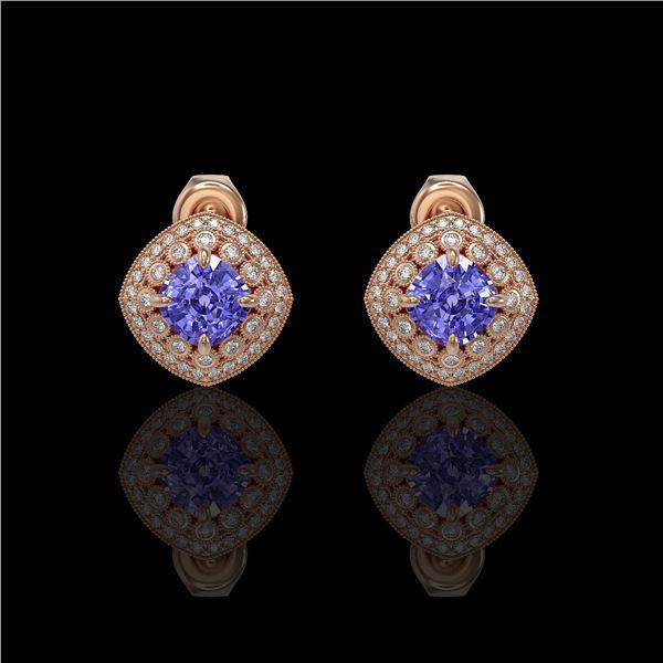 5.09 ctw Tanzanite & Diamond Victorian Earrings 14K Rose Gold - REF-152X5A