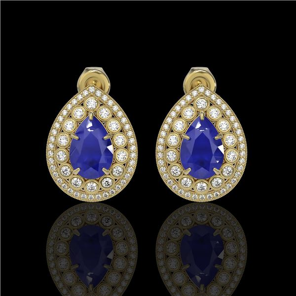 9.74 ctw Certified Sapphire & Diamond Victorian Earrings 14K Yellow Gold - REF-247X5A