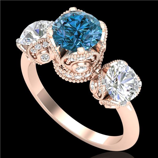 3 ctw Fancy Intense Blue Diamond Art Deco Ring 18k Rose Gold - REF-418R2K