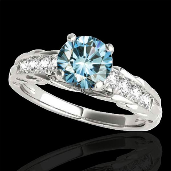 1.2 ctw SI Certified Fancy Blue Diamond Solitaire Ring 10k White Gold - REF-118X6A