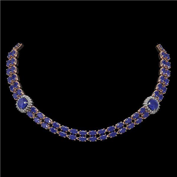 43.97 ctw Sapphire & Diamond Necklace 14K Rose Gold - REF-527M3G
