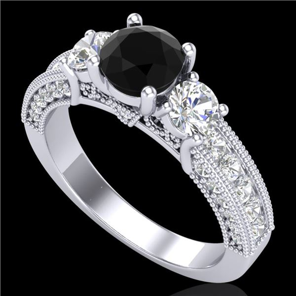 2.07 ctw Fancy Black Diamond Art Deco 3 Stone Ring 18k White Gold - REF-200F2M