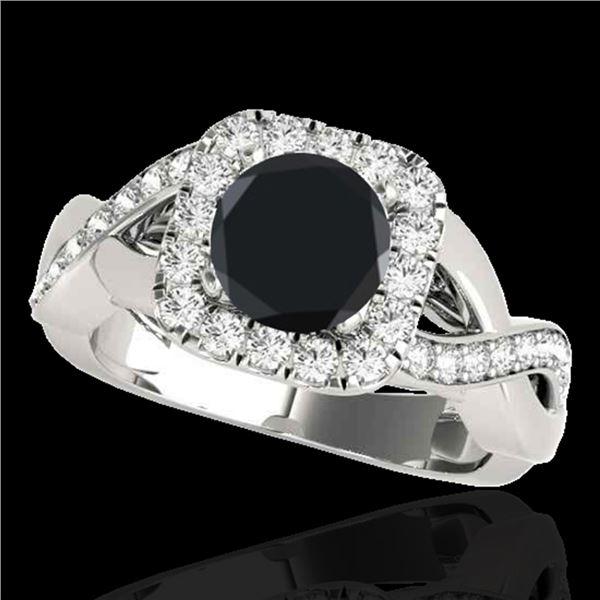 1.65 ctw Certified VS Black Diamond Solitaire Halo Ring 10k White Gold - REF-60M5G