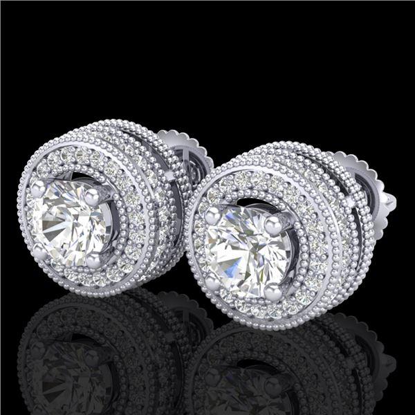 2.09 ctw VS/SI Diamond Solitaire Art Deco Stud Earrings 18k White Gold - REF-254Y5X
