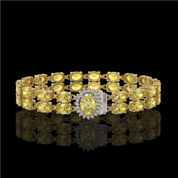 24.02 ctw Citrine & Diamond Bracelet 14K Yellow Gold - REF-218F2M