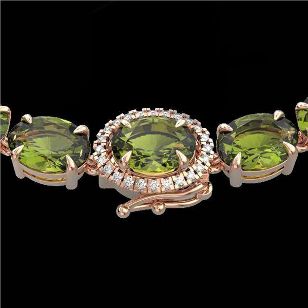 35.25 ctw Green Tourmaline & VS/SI Diamond Micro Necklace 14k Rose Gold - REF-340X2A