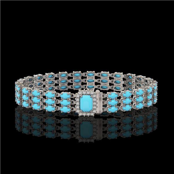 19.27 ctw Turquoise & Diamond Bracelet 14K White Gold - REF-318F2M