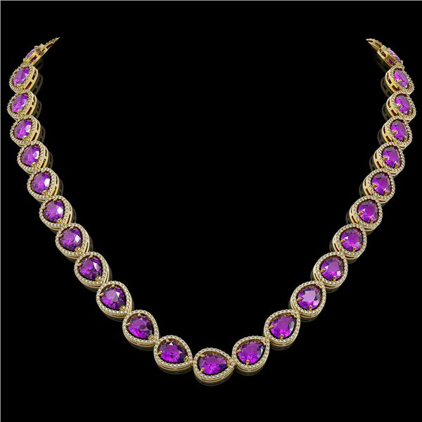 43.2 ctw Amethyst & Diamond Micro Pave Halo Necklace 10k Yellow Gold - REF-603K3Y