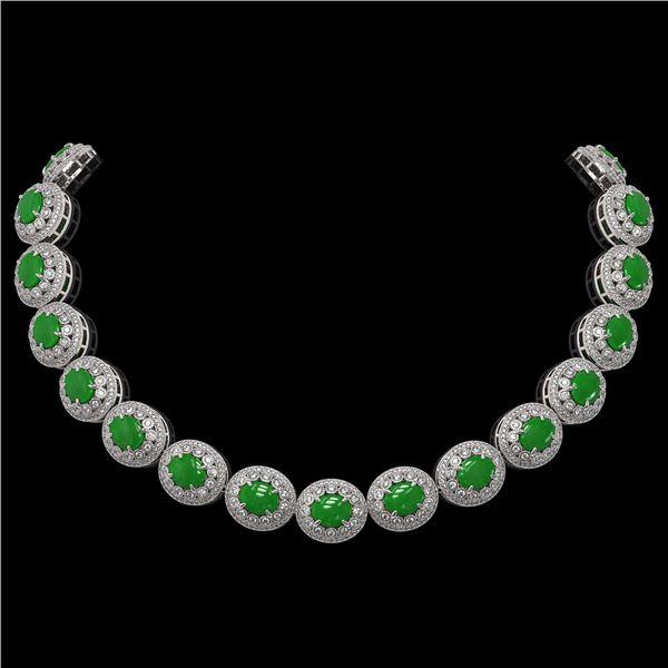 101.75 ctw Jade & Diamond Victorian Necklace 14K White Gold - REF-2594K5Y